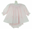NEW Sarah Louise Pale Pink Voile Smocked Diaper Set with Embroidered Rosebuds