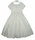NEW Sarah Louise Pearl White Satin Dress with Exquisitely Embroidered Lace, Sequins, and Pearls