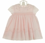 NEW Sarah Louise Pink Eyelet Smocked Dress with Scalloped Neck and Sleeves