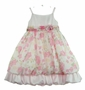 NEW Sarah Louise Pink Flowered Organdy Dress with White Satin Ruffle