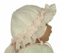 NEW Sarah Louise Pink Ruffled Sunhat with Bow Trim