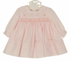 NEW Sarah Louise Pink Smocked Batiste Dress with Pintucks, Pink Rosebuds, and Seed Pearls