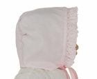 NEW Sarah Louise Pink Smocked Bonnet with White Featherstitching