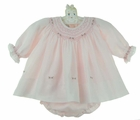 "<img src=""https://p11.secure.hostingprod.com/@grammies-attic.com/ssl/images/blue-sold-1.gif""> NEW Sarah Louise Pink Smocked Diaper Set with Rosebud Embroidery"