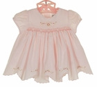 "<img src=""https://p11.secure.hostingprod.com/@grammies-attic.com/ssl/images/blue-sold-1.gif""> NEW Sarah Louise Pink Smocked Dress and Diaper Cover with Embroidered Pink Rosebuds and Scalloped Hem"