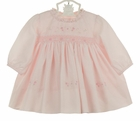 NEW Sarah Louise Pink Smocked Dress with Heart and Flower Embroidery, Ruffled Neckline, and Seed Pearls