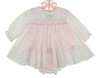 "<img src=""https://p11.secure.hostingprod.com/@grammies-attic.com/ssl/images/blue-sold-1.gif""> NEW Sarah Louise Pink Smocked Voile Dress with Rosebud Heart Embroidery and Matching Diaper Cover"