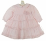 NEW Sarah Louise Pink Voile Long Sleeved Dress with Tiers of Ruffles and Rosebud Cluster