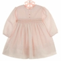 NEW Sarah Louise Pink Voile Smocked Dress with Delicate Crystal Beading