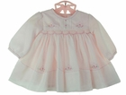 NEW Sarah Louise Pink Voile Smocked Dress with Pintucks and Pink Embroidered Rosebuds