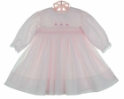 NEW Sarah Louise Pink Voile Smocked Dress with Rosebuds and Delicate Crystal Beading