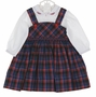 NEW Sarah Louise Red and Blue Plaid Jumper Style Smocked Dress