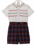 NEW Sarah Louise Red and Blue Plaid Smocked Button on Shorts Set