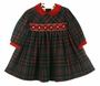 "<img src=""https://p11.secure.hostingprod.com/@grammies-attic.com/ssl/images/blue-sold-1.gif""> NEW Sarah Louise Red and Green Plaid Smocked Dress with Red Velvet Collar and Ribbon Insertion"