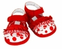 NEW Sarah Louise Red Dotted Sandals with Ruffled Trim