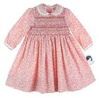 """<img src=""""https://p11.secure.hostingprod.com/@grammies-attic.com/ssl/images/blue-sold-1.gif""""> NEW Sarah Louise Red Flowered Smocked Twill Dress with Fagoted Collar"""