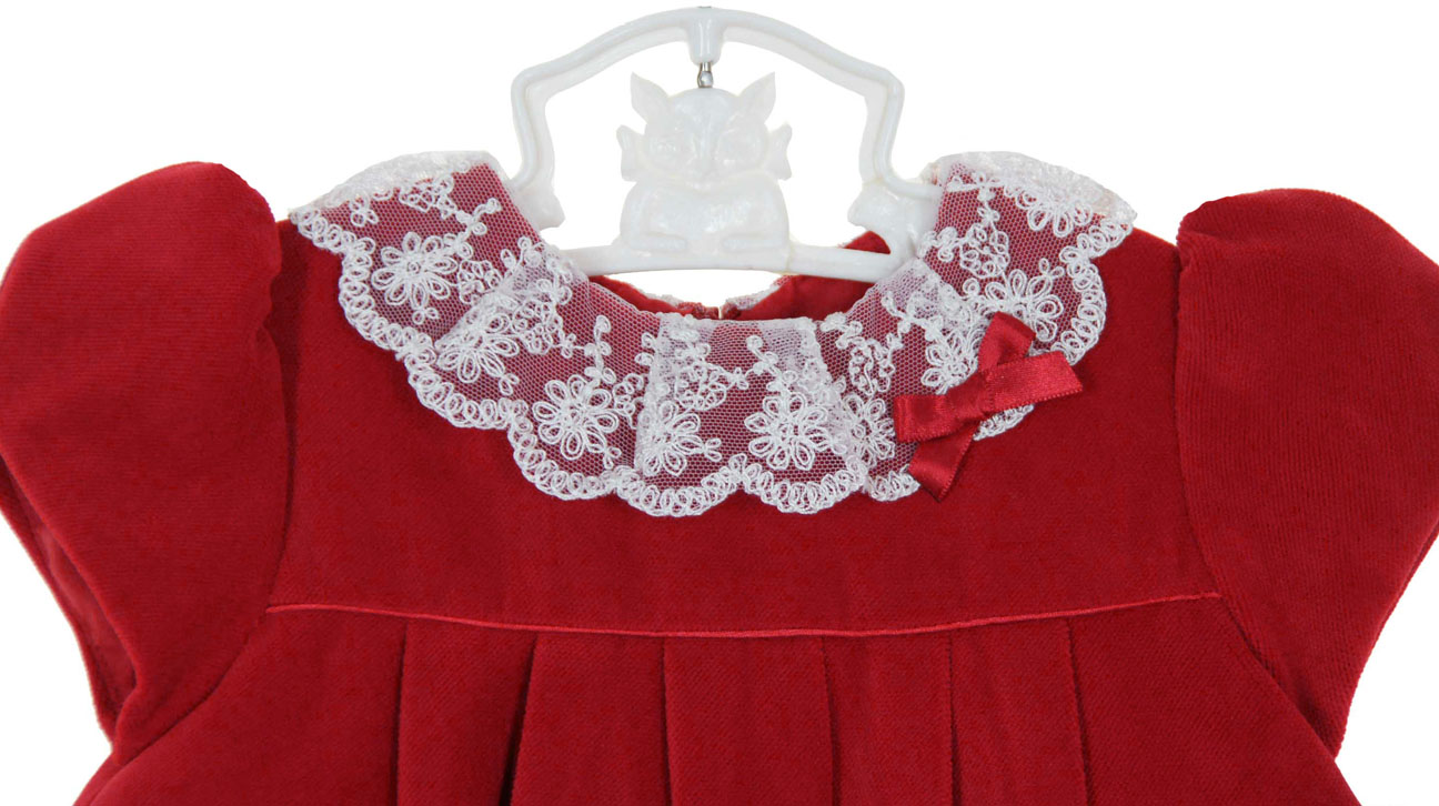 7f2265372506 Sarah Louise Red Velvet Dress with Delicate Lace Collar
