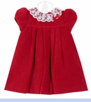 NEW Sarah Louise Red Velvet Dress with Delicate Lace Collar
