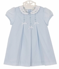 NEW Sarah Louise Vintage Style Blue Pleated Batiste Dress with White Embroidered Collar