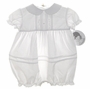 """<img src=""""https://p11.secure.hostingprod.com/@grammies-attic.com/ssl/images/blue-sold-1.gif""""> NEW Sarah Louise White Baby Bubble with Pintucks and Matching Bonnet"""
