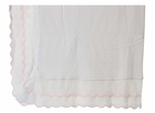 NEW Sarah Louise White Blanket with Pink Dots and Pink Scalloped Trim