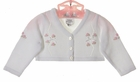 NEW Sarah Louise White Bolero Sweater with Openwork and Pink Flowers