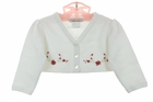 NEW Sarah Louise White Bolero Sweater with Red Rosebuds and Sparkling Embroidery
