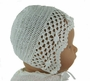 "<img src=""https://p11.secure.hostingprod.com/@grammies-attic.com/ssl/images/blue-sold-1.gif""> NEW Sarah Louise White Crocheted Bonnet with Rosebud Trim"