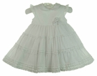 NEW Sarah Louise White Dress with Tiers of Ruffles and Rosebud Cluster