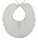 NEW Sarah Louise White Pique Bib with Crocheted Trim and Blue Dots