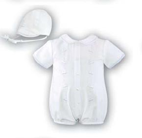 NEW Sarah Louise White Romper with Embroidered Cars and Matching Hat