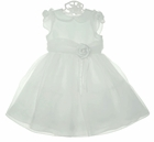 NEW Sarah Louise White Satin and Tulle Dress with White Roses and Pearls
