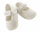 NEW Sarah Louise White Satin Mary Jane Style Christening Shoes with Ribbon Roses