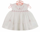 NEW Sarah Louise White Smocked Dress with Pinafore Sleeves and Pink Rosebuds