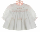 NEW Sarah Louise White Smocked Dress with Pink Embroidered Flowers