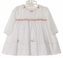 NEW Sarah Louise White Smocked Dress and Ruffled Diaper Cover with Red and White Embroidered Flowers and Tiny Crystal Beads