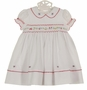 NEW Sarah Louise White Smocked Dress with Red Scalloped Trim and Embroidered Flowers