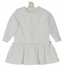 NEW Sarah Louise White Velour Dress with Ruffles, Bows, and Seed Pearls