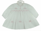 NEW Sarah Louise White Voile Smocked Dress with Pintucks and Pink Embroidered Rosebuds