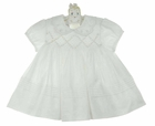 NEW Sarah Louise White Voile Smocked Dress with Scalloped Collar and Seed Pearls
