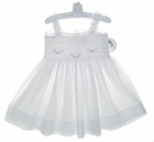 NEW Sarah Louise White Voile Smocked Sundress with Pink Embroidery