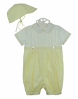 NEW Sarah Louise Yellow and White Featherstitched Romper with Matching Hat