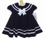 NEW Shirley Temple Style Navy Blue Pleated Sailor Dress