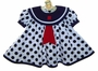"""<img src=""""https://p11.secure.hostingprod.com/@grammies-attic.com/ssl/images/blue-sold-1.gif""""> NEW Shirley Temple Style White Sailor Dress with Navy Dots and Matching Beret"""