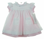 """<img src=""""https://p11.secure.hostingprod.com/@grammies-attic.com/ssl/images/blue-sold-1.gif""""> NEW Simi Pink Dress with White Eyelet Trimmed Pinafore and Matching Bonnet"""
