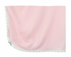 NEW Soft Pink Knit Receiving Blanket with Rosebud Trimmed Edges