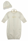 NEW Baby Threads Softest Pima Cotton Knit Convertible Daygown/Romper, Hat, Bib, and Blanket Set with Embroidered Ducks