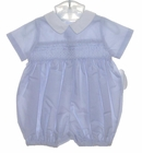 NEW Sophie Dess Blue Smocked Romper with White Collar
