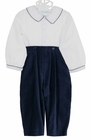 NEW Sophie Dess Navy Velvet Pants Set with White Shirt