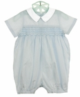 NEW Sophie Dess Smocked Cotton Romper with Tiny Blue Checks and White Collar